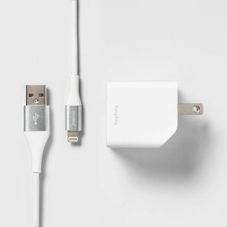 heyday™ 2-Port Wall Charger USB-A & USB-C (with 6' Cable) - Ivory White