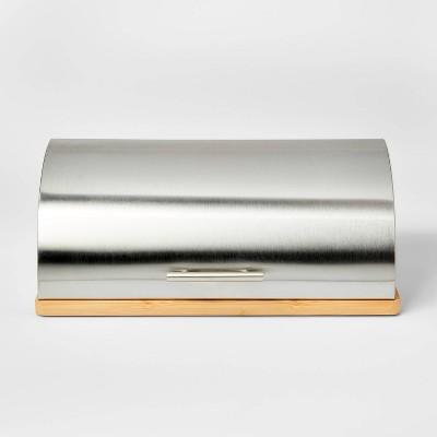 Metal Breadbox with Bamboo Base Silver - Threshold™