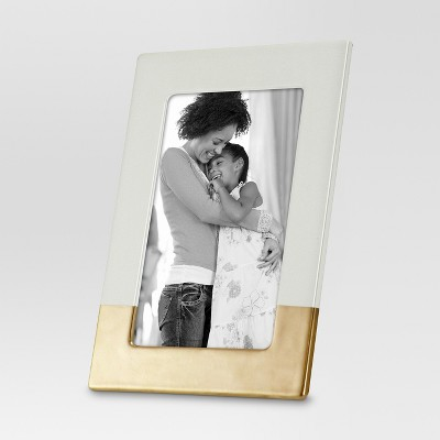 """4"""" x 6"""" Ceramic with Bronze Accents Frame Ivory - Threshold™"""