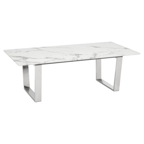 Modern Rectangular Faux Marble Coffee Table Stone Brushed Stainless Steel Zm Home