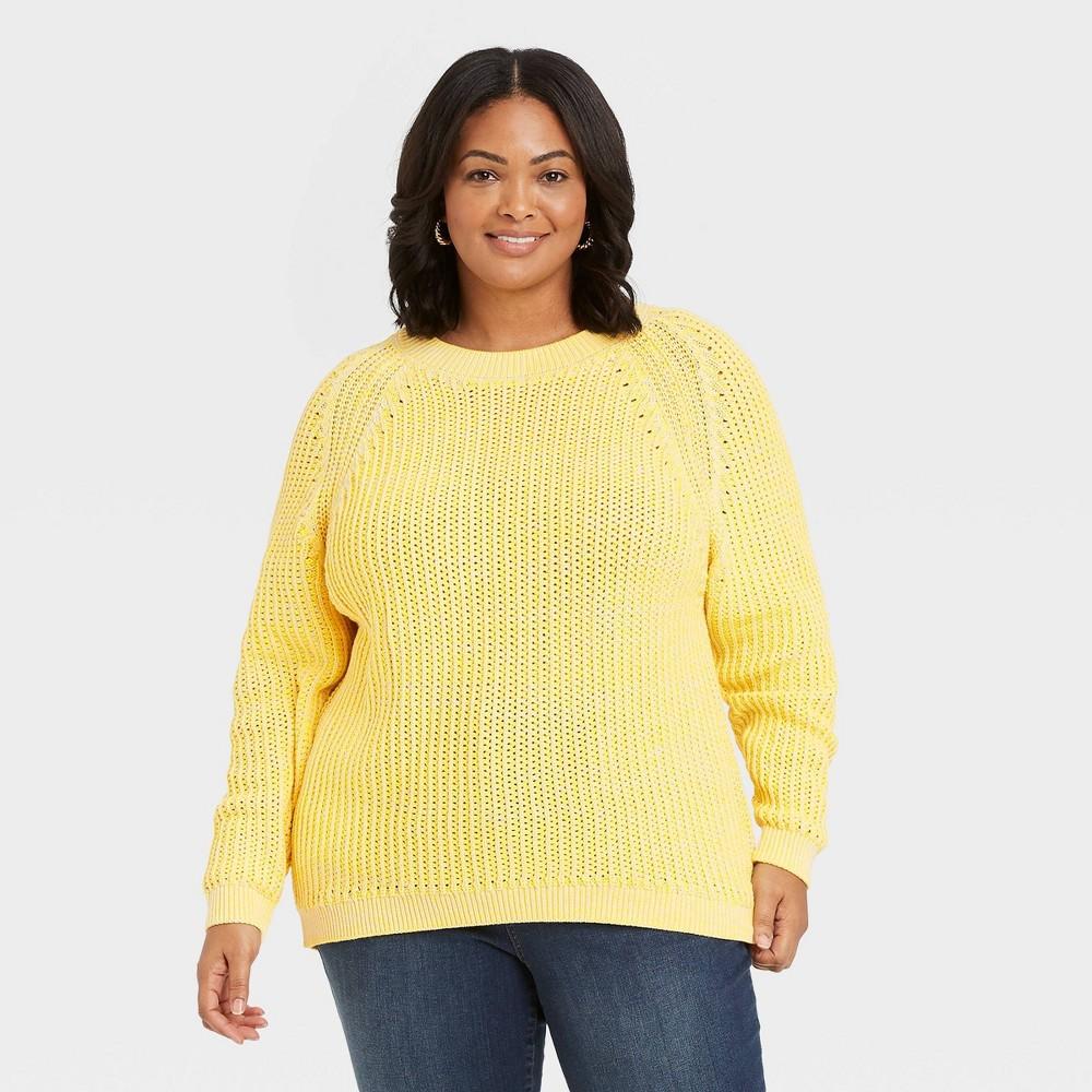 Women 39 S Plus Size Crewneck Pullover Sweater Ava 38 Viv 8482 Yellow 4x
