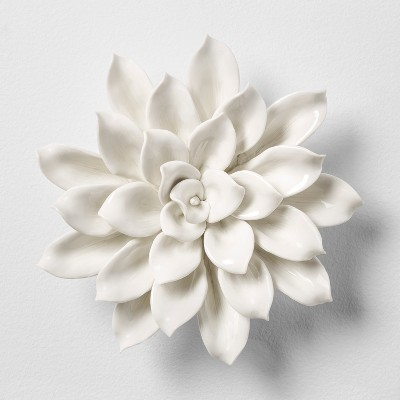 Porcelain Flower Decorative Wall Sculpture White 8 x 8  - Opalhouse™