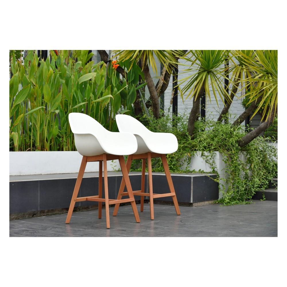 Image of 2pk Metz Eucalyptus Patio Barstool Set with Arms White - Amazonia