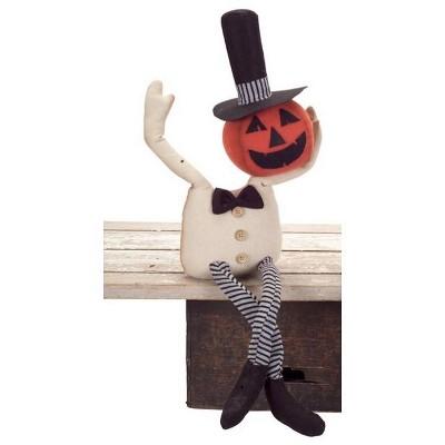 "Melrose 25"" Shelf Sitting Bendable Pumpkin Man Halloween Decoration - Orange/White"