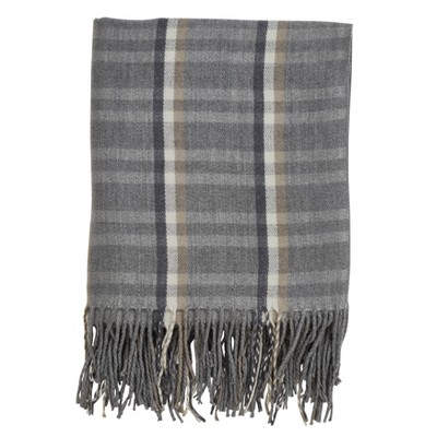 Plaid Tassle Throw Blanket Gray - Saro Lifestyle