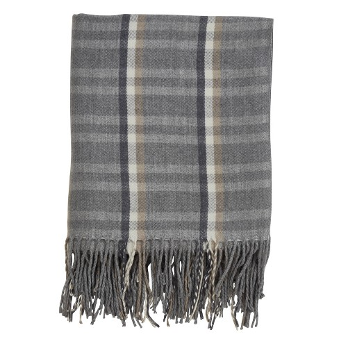 Plaid Tassle Throw Blanket Gray - Saro Lifestyle - image 1 of 4