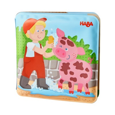 """HABA Animal Wash Day - Magic Bath Book - Wipe with Warm Water and the """"Muddy"""" Pages Come Clean"""