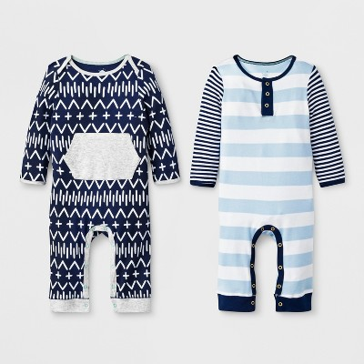 Baby Boys' 2pc Stripe Romper Set - Cloud Island™ Blue Newborn