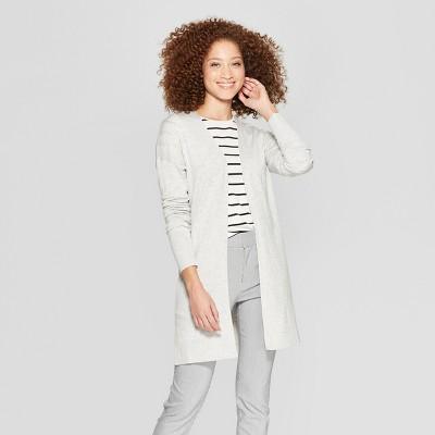 Women's Long Sleeve Back Belt Open Cardigan Sweater - A New Day™ Gray S
