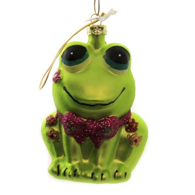 """Holiday Ornament 4.0"""" Retro Frog Christmas Bow Tie Flowers  -  Tree Ornaments"""