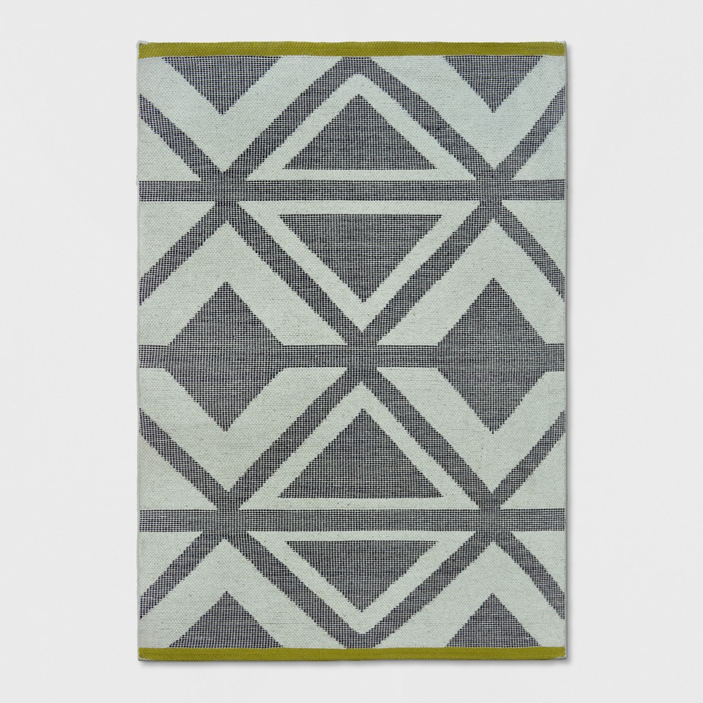 Jacquard Woven Area Rug 7'X10' Black/Chevron/Yellow - Project 62 was $239.99 now $119.99 (50.0% off)