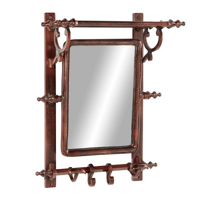 "15"" x 20"" Copper Bathroom Wall Rack with Hooks and Rectangular Mirror - Olivia & May"