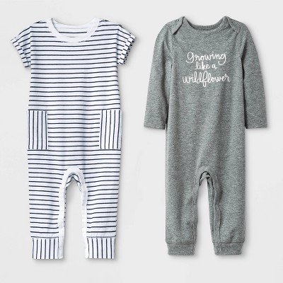 Baby Girls' 2pc Long Sleeve Lap Shoulder  Growing Like a Wildflower  and Short Sleeve Striped Rompers - Cat & Jack™ Gray/White 0-3M