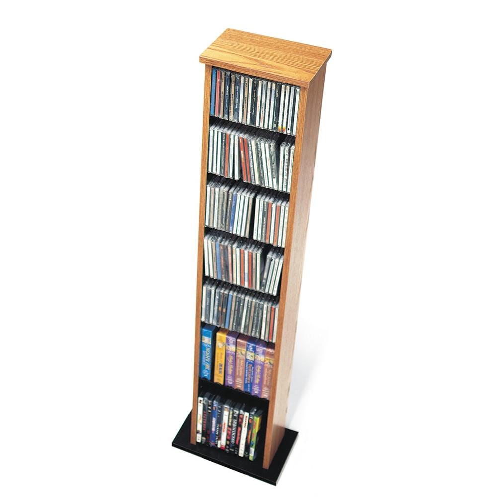 Image of Slim Multimedia Storage Tower Oak & Black - Prepac