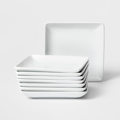"6.5"" 8pk Square Porcelain Appetizer Plates - Threshold™"