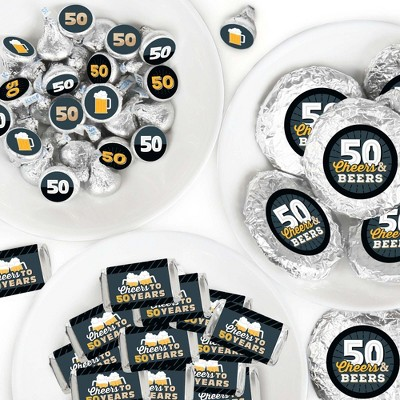 Big Dot of Happiness Cheers and Beers to 50 Years - 50th Birthday Party Candy Favor Sticker Kit - 304 Pieces