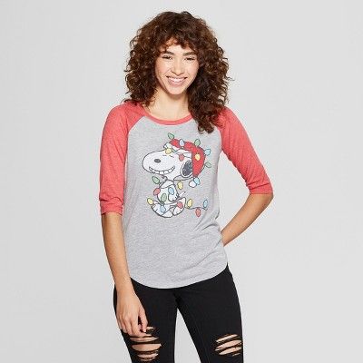 685e0ed573844 Women s Peanuts Snoopy 3 4 Sleeve Christmas Lights Raglan Graphic T-Shirt  (Juniors