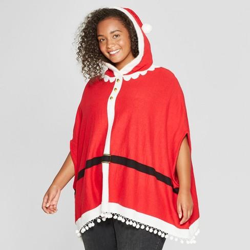 0b8b0421cee Women s Plus Size Santa Claus Poncho - Well Worn (Juniors ) Red 1X ...