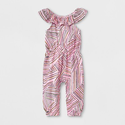 Baby Girls' Sleeveless Romper with Stripes - Cat & Jack™ Pink 0-3M