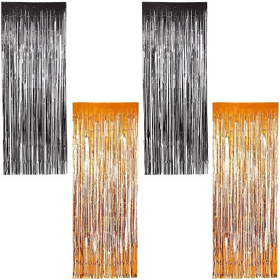 Blue Panda 4-Pack Halloween Party Decorations, Foil Fringe Door Curtains (2 Colors, 35 x 93 in)