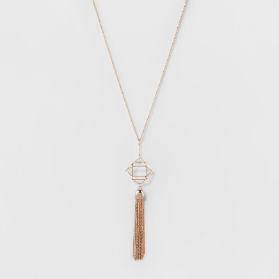Geo Case And Tassel Long Pendant Necklace - A New Day™ Rose Gold