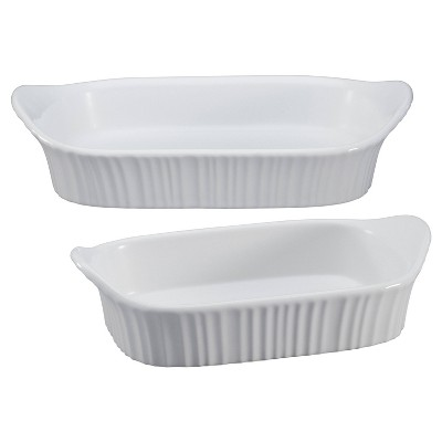 CorningWare French White 2pc Ceramic Bakeware Set