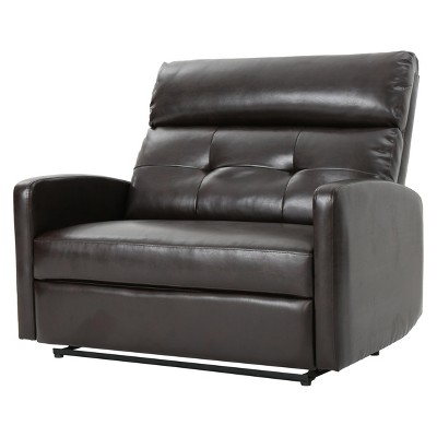 Superbe Halima 2 Seater Faux Leather Recliner   Brown   Christopher Knight Home