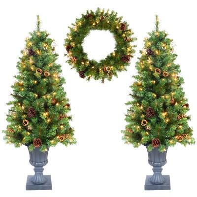 Jeco Inc. 4ft Christmas Tree and Holiday Wreath Set