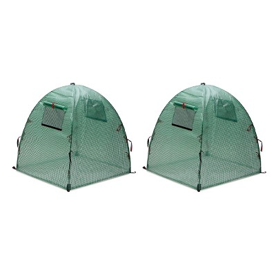 NuVue 24044 Pop Open Vueshield Backyard Flower Herb Vegetable Garden Greenhouse Tent with 4 Stakes and Roll Up Screen Windows (2 Pack)