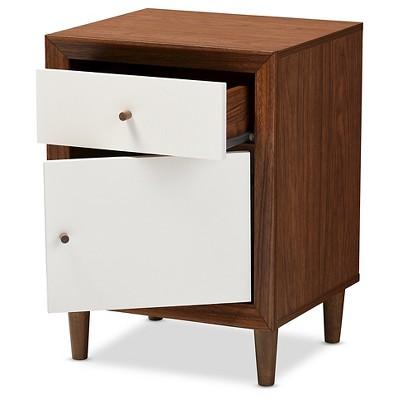 Harlow Mid-Century Modern Scandinavian Style Wood 1-Drawer And 1-Door Nightstand - White And Walnut - Baxton Studio : Target