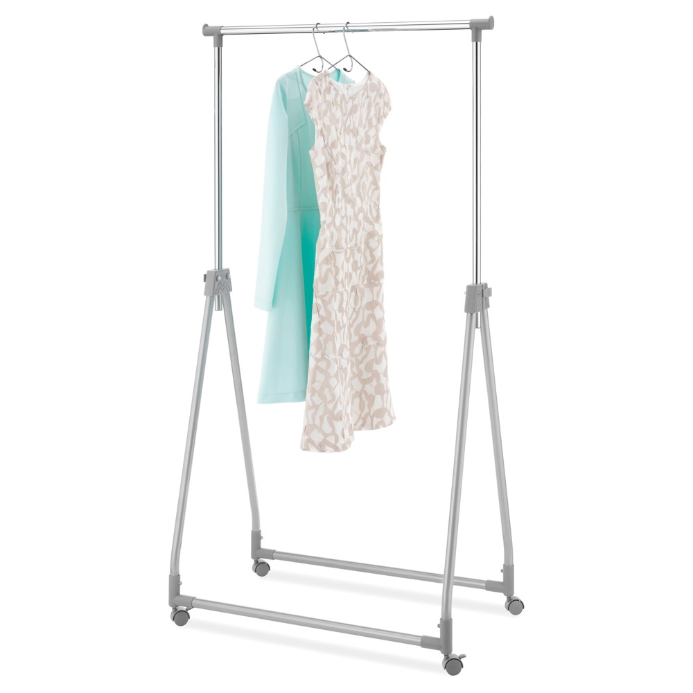 Whitmor Foldable Collapsible Garment Rack - Silver Metal (Grey) Whitmor's Foldable Garment Rack is perfect for permanent or temporary clothing storage. Whether you're looking for a solution to alleviate cramped and cluttered closets permanently or just a quick fix to accommodate a house guest, look no further than Whitmor's Foldable Garment Rack. Sleek and attractive in design, it's suitable to keep out in a bedroom full-time for daily use. It's durable, height adjustable and easily transports or locks in place. When not in use, the rack folds down for compact storage in a closet or under the bed. Whitmor's Foldable Garment Rack is easy to assemble and requires no tools. Color: Metal.