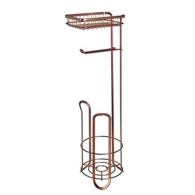 mDesign Metal Toilet Paper Holder Dispenser, Storage Shelf - Venetian Bronze