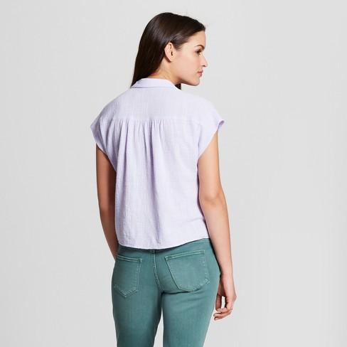 64d7289ff8c323 Women's Short Sleeve Drapey Button-Down Blouse - Universal Thread ...
