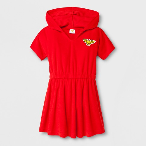 Girls' Wonder Woman Cover-Up - Red - image 1 of 1