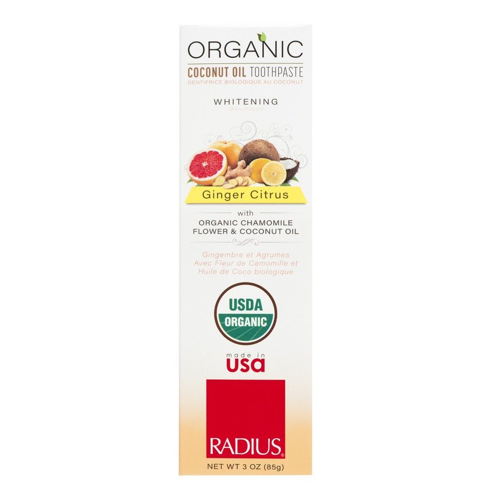 Image of Radius USDA Organic Ginger Citrus Natural Whitening Toothpaste - 3oz