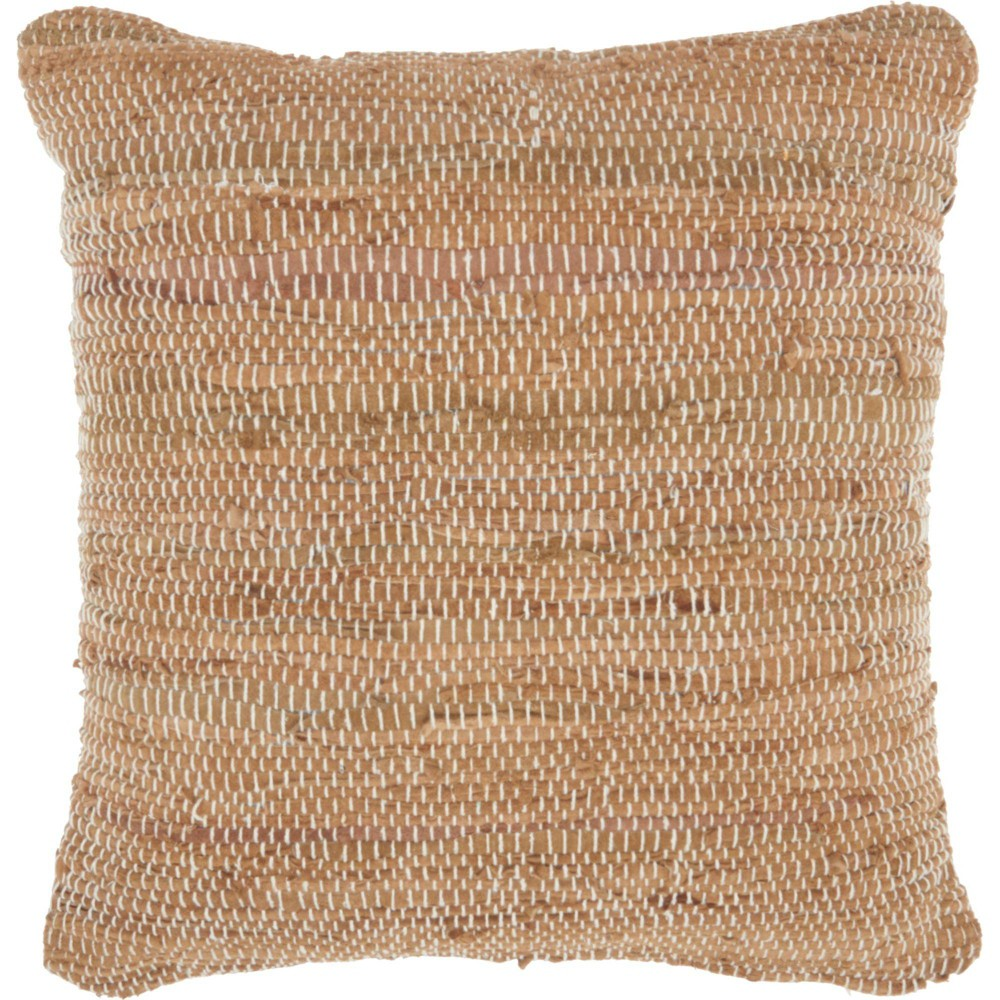 Image of Natural Leather Hide Woven Leather Oversize Square Throw Pillow Clay - Nourison