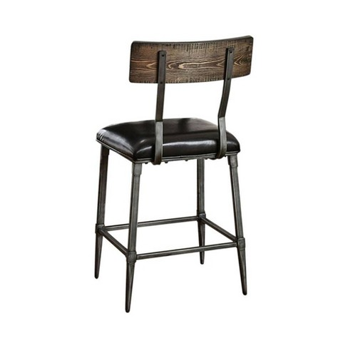 Set of 2 Industrial Counter Height Chairs Gray - Benzara - image 1 of 3