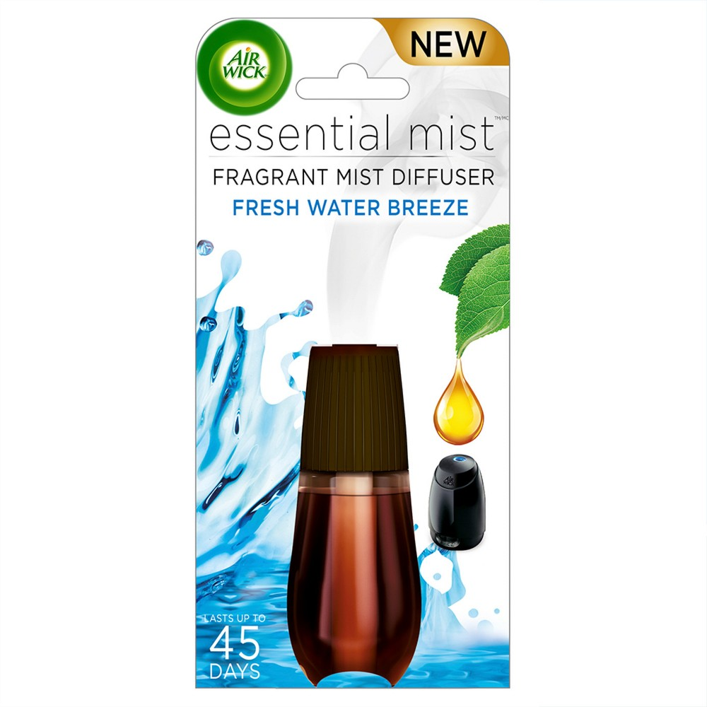 Image of Air Wick Essential Mist Fresh Water Breeze Air Freshener Refill - 0.67oz, Multi-Colored