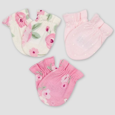 Gerber Baby Girls' 3pk Floral Mittens - Pink/Off-White