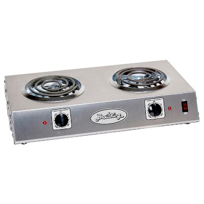 BroilKing CDR-1TB Stainless Steel 1650 Watt Tubular Heating Element Dual Burner Hot Plate with Infinite Heat Control Knobs and Power Lights