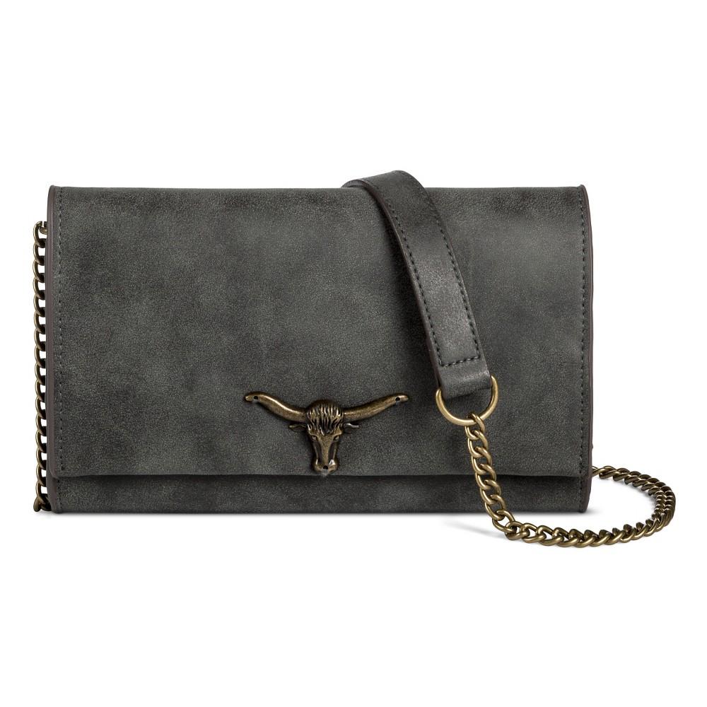 T-Shirt & Jeans Women's Flap Crossbody Handbag with Bull Hardware - Gray