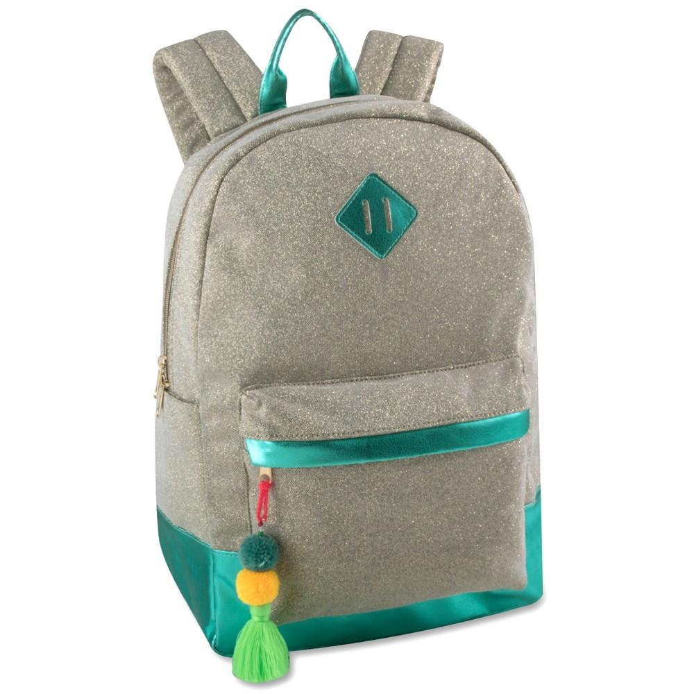 17.5 Glitter Fashion Backpack - Gold/Biscay Green, Gold Shimmer 17.5 Glitter Fashion Backpack - Gold/Biscay Green Color: Gold Shimmer. Gender: Female. Pattern: Splatter.