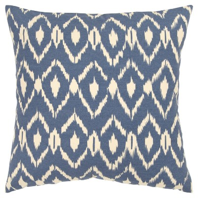 "18""x18"" Ikat Square Throw Pillow Cover Blue - Rizzy Home"