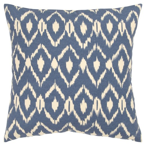 """18""""x18"""" Ikat Square Throw Pillow Cover Blue - Rizzy Home - image 1 of 4"""