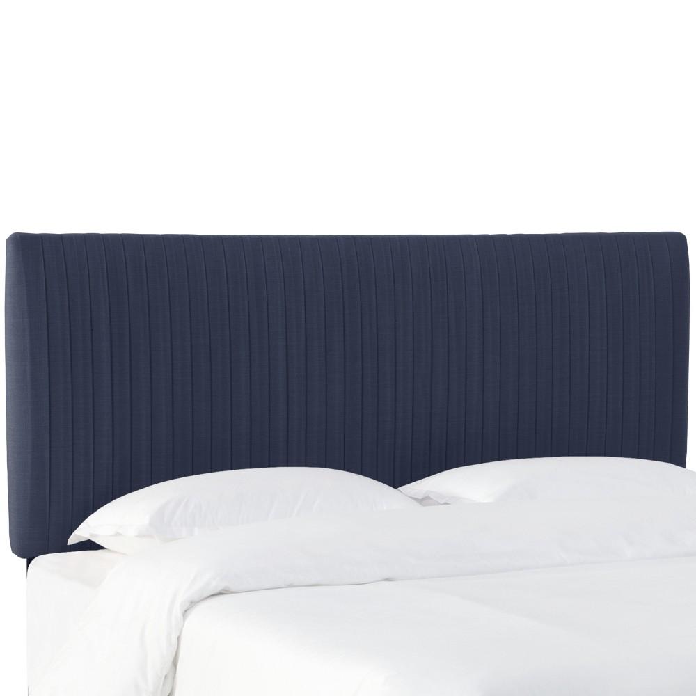 Full Skylar Upholstered Pleated Headboard Navy Linen - Cloth & Co.
