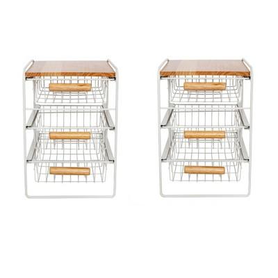 Origami Wood Top Steel Kitchen Organizer 3 Mesh Basket Sliding Drawer (2 Pack)