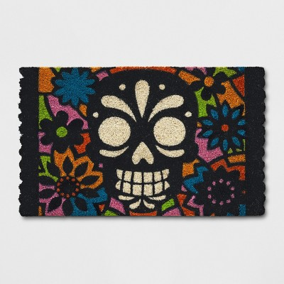 1'6 x2'6  Day of the Dead Skull Tufted Doormat Black - Hyde and Eek! Boutique™