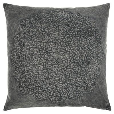 Rizzy Home Medallion Throw Pillow Gray