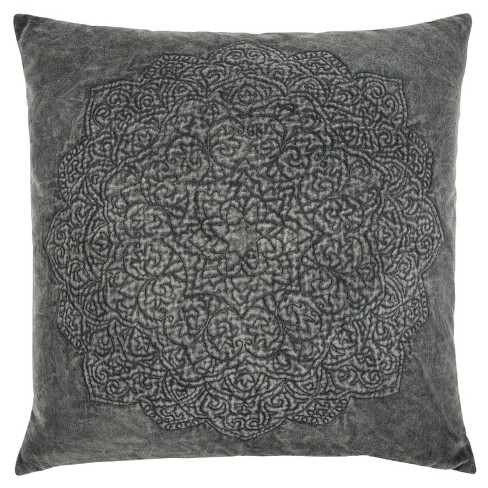 Medallion Throw Pillow Gray - Rizzy Home - image 1 of 4