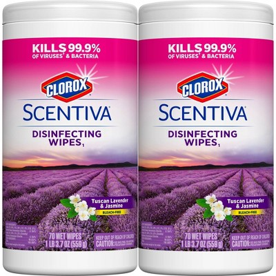 Clorox Scentiva Wipes Bleach Free Cleaning Wipes - Tuscan Lavender & Jasmine - 70ct Each/2pk